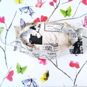 1 db Újságpapír mintás szájmaszk - mosható mintás dupla rétegű maszk - újságos mintás maszk, Táska, Divat & Szépség, Szépség(ápolás), Egészségmegőrzés, Maszk, szájmaszk, NoWaste, Varrás, Pamut anyagból készült szájmaszk, amely fehér gumiszalaggal rögzíthető a fejre.\nA maszk anyaga mosha..., Meska