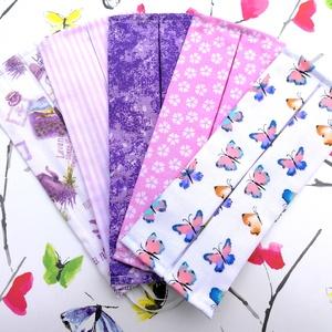 5 db mintás maszk: levendulás maszk, csíkos maszk, lila indás maszk, virágos maszk és pillangós maszk, NoWaste, Táska, Divat & Szépség, Szépség(ápolás), Maszk, szájmaszk, Egészségmegőrzés, Textilek, Kendő, Varrás, Pamut dupla rétegű mosható maszk, ami fehér gumipánttal illeszthető a fejre.  Mosási útmutatót mellé..., Meska