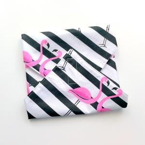 1 db flamingós újraszalvéta - tépőzáras újraszalvéta - vízhatlan újra-szalvéta - mintás újraszalvéta - wrap bag , NoWaste, Textilek, Textil tároló, Varrás, Ez az aranyos újra-szalvéta az egyszer használatos szalvéta, folpack, uzsonnás zacskó és az alufólia..., Meska