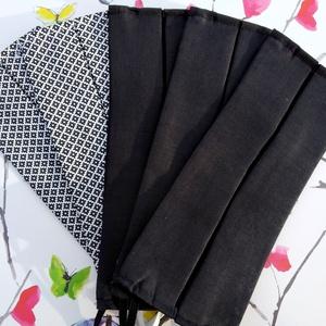 5 db fekete és mintás maszk - pamut maszk - férfi maszk - uniszex maszk, Táska, Divat & Szépség, Szépség(ápolás), Maszk, szájmaszk, Férfiaknak, Varrás, Pamut anyagból készült szájmaszk (dupla rétegű), amely gumipánttal rögzíthető a fejre, anyaga moshat..., Meska