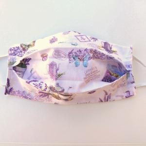 1 db Levendulás maszk - dupla rétegű maszk - pamut maszk - maszk hölgyeknek - maszk lányoknak, Táska, Divat & Szépség, Szépség(ápolás), Egészségmegőrzés, Maszk, szájmaszk, NoWaste, Varrás, Pamut anyagból készült szájmaszk (dupla rétegű), amely fehér gumiszalaggal rögzíthető a fejre, hátla..., Meska