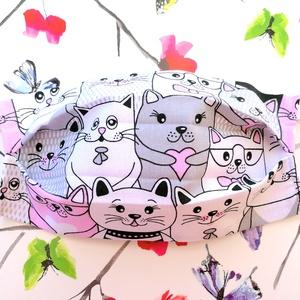 1 db Rózsaszín cicás maszk - mosható dupla rétegű maszk - cica mintás maszk - mintás maszk - maszk hölgyeknek, Táska, Divat & Szépség, Szépség(ápolás), Egészségmegőrzés, Maszk, szájmaszk, NoWaste, Textilek, Kendő, Varrás, Pamut anyagból készült szájmaszk (dupla rétegű), amely fehér gumiszalaggal rögzíthető a fejre, hátla..., Meska