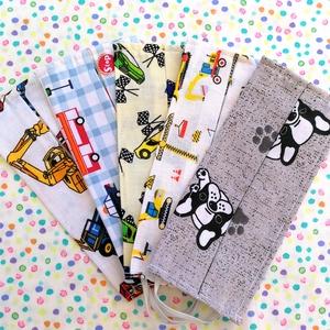 5 db kisfiús maszk, gyerek méretű maszk - munkagépes maszk, járműves maszk, autós maszk, buldog mintás maszk - egyrétegű, Táska, Divat & Szépség, Szépség(ápolás), Maszk, szájmaszk, Gyerek & játék, Varrás, Pamut anyagból készült gyerek szájmaszk (egyrétegű), amely fehér gumiszalaggal rögzíthető a fejre, h..., Meska