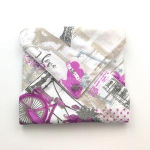 1 db biciklis Eiffel tornyos újraszalvéta - tépőzáras újraszalvéta - vízhatlan újra-szalvéta - mintás újraszalvéta , Szendvics csomagoló, Uzsonna- & Ebéd tartó, Táska & Tok, Varrás, Ez az aranyos újra-szalvéta az egyszer használatos szalvéta, folpack, uzsonnás zacskó és az alufólia..., Meska