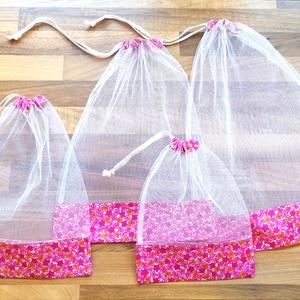 4 db nowaste bevásárló tasak gyümölcsökhöz, zöldségekhez - nowaste bevásárló zsák - rózsaszín virágos zsák, tasak, Táska & Tok, Bevásárlás & Shopper táska, Zöldség/Gyümölcs zsák, Varrás, A műanyag zacskó, szatyor leváltására készült ez a nowaste bevásárló tasak/zsák szett, amelyet zölds..., Meska