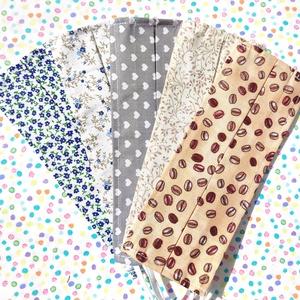 5 db kánikula maszk: kávés maszk, indás maszk, virágos maszk, szívecskés maszk - egyrétegű maszk, női maszk maszk, Maszk, Arcmaszk, Női, Pamutból készült nyári textil maszk (egyrétegű), amely gumipánttal rögzíthető a fejre, anyaga moshat..., Meska