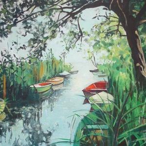 Csónakkikötő - mini art print (akvarell festményem alapján) - Meska.hu