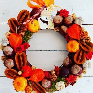 Rókás Ajtódísz, , Virágkötés, 26 cm es vessző alapon. Termések , moha, kis tökök, róka figura és habrózsák , Meska