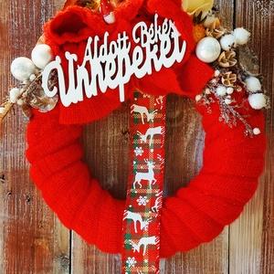 Piros - fehér ajtódísz, Otthon & Lakás, Dekoráció, Ajtódísz & Kopogtató, Virágkötés, Kézműves termék.Egy darab készült belőle. 30cm átmérőjű. Igazi vibráló karácsonyi ajtódísz a piros s..., Meska