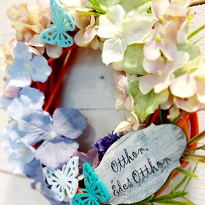 """Tavaszi ajtódísz hortenziával \""""otthon édes otthon\"""", Otthon & Lakás, Dekoráció, Ajtódísz & Kopogtató, Virágkötés, Barna fonott koszorú alapon selyemvirágok és hortenzia, \""""otthon édes otthon\"""" felirattal , Meska"""
