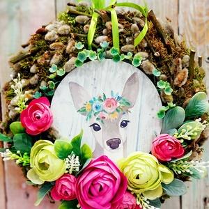 Tavaszi ajtódísz őzike , Otthon & Lakás, Dekoráció, Ajtódísz & Kopogtató, Virágkötés, Tavaszi ajtódísz élő barka koszorún őzikés táblával selyem Boglárka és selyemvirágokkal , Meska