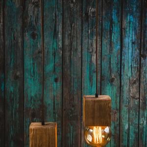 Fa függeszték, Lakberendezés, Otthon & lakás, Lámpa, Fali-, mennyezeti lámpa, Hangulatlámpa, Famegmunkálás, Két darab fenyő gerendából készült kocka alakú foglalat egy 35cm hosszú gerenda darabról függesztve...., Meska
