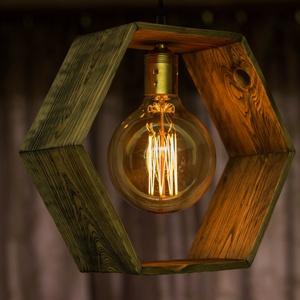 """Rusztikus fa függeszték, Lakberendezés, Otthon & lakás, Lámpa, Fali-, mennyezeti lámpa, Hangulatlámpa, Famegmunkálás, Rusztikus fa függeszték, újrahasznosított fenyőből, vékony matt lakkal kezelve.\nA \""""búra\"""" kialakításá..., Meska"""