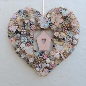 Vintage kopogtató tavaszra, nyárra, szív alakú, madárkákkal , Ajtódísz & Kopogtató, Dekoráció, Otthon & Lakás, Virágkötés, Kedves, vidám, tavaszi-nyári kopogtató pasztell színekben romantikus, álmodozó vevőknek:) Szív alakú..., Meska
