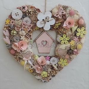 Madárlak - kopogtató tavaszra, nyárra, szív alakú, madárkákkal , Ajtódísz & Kopogtató, Dekoráció, Otthon & Lakás, Virágkötés, Üde, vidám, tavaszi-nyári kopogtató pasztell színekben romantikus, álmodozó vevőknek:) \nSzív alakú, ..., Meska