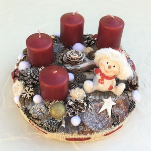 Hóember asztaldísz adventre , Adventi koszorú, Karácsony & Mikulás, Otthon & Lakás, Mindenmás, Piros - fehér - arany alapszínekben készült adventi asztaldísz természetes anyagokból, textillel bev..., Meska