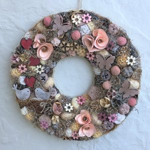 Vintage-rusztikus madárkás kopogtató , Otthon & Lakás, Dekoráció, Ajtódísz & Kopogtató, Virágkötés, Bájos, elegáns kopogtató tavaszra, nyárra barack, rózsa, bézs, barna árnyalatokban. Textillel bevont..., Meska