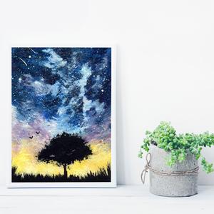 Fa sziluett naplementében, saját tervezésű festmény - Eredeti festmény, Otthon & lakás, Képzőművészet, Festmény, Akril, Festészet, Saját elképzelés szerint festettem meg a képet. A csillagos égbolt mindig megihlet. Kedvencem a fa s..., Meska