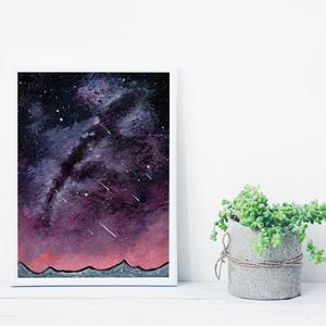 Vörös égbolt csillagokkal, saját tervezésű festmény - Eredeti festmény, Otthon & lakás, Képzőművészet, Festmény, Akril, Festészet, Saját elképzelés szerint festettem meg a képet. A csillagos égbolt mindig megihlet. \nKülönleges szín..., Meska