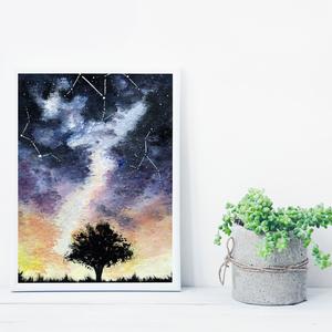 Fa sziluett csillagképekkel, saját tervezésű festmény - Eredeti festmény, Otthon & lakás, Képzőművészet, Festmény, Akril, Festészet, Saját elképzelés szerint festettem meg a képet. A csillagos égbolt mindig megihlet. \nKedvencem a fa ..., Meska