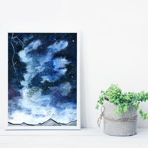 Csillagos égbolt csilllagképpel, saját tervezésű festmény - Eredeti festmény, Otthon & lakás, Képzőművészet, Festmény, Akril, Festészet, Saját elképzelés szerint festettem meg a képet. A csillagos égbolt mindig megihlet. \nSzeretem amikor..., Meska