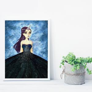 Unikornis lány szép ruhában, saját tervezésű festmény - Eredeti festmény, Otthon & lakás, Képzőművészet, Festmény, Akril, Festészet, Saját elképzelés szerint festettem meg a képet. A csillagos égbolt mindig megihlet. \nSzeretek emberi..., Meska