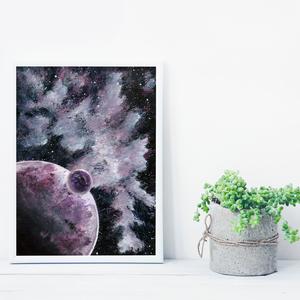 Bolygó holdjával,  saját tervezésű festmény - Eredeti festmény, Otthon & lakás, Képzőművészet, Festmény, Akril, Festészet, Saját elképzelés szerint festettem meg a képet. A csillagos égbolt mindig megihlet. \nSzeretek bolygó..., Meska