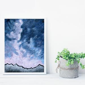 Csillagos égbolt, csillogós festékkel,  saját tervezésű festmény - Eredeti festmény, Otthon & lakás, Képzőművészet, Festmény, Akril, Festészet, Saját elképzelés szerint festettem meg a képet. A csillagos égbolt mindig megihlet. \nSzíntiszta égbo..., Meska