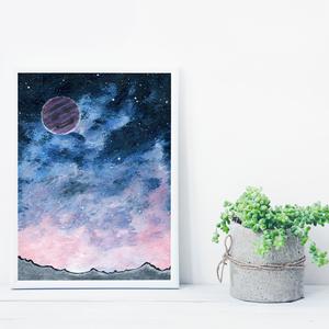 Csillagos égbolt bolygóval, csillogós festékkel, saját tervezésű festmény - Eredeti festmény, Otthon & lakás, Képzőművészet, Festmény, Akril, Festészet, Saját elképzelés szerint festettem meg a képet. A csillagos égbolt mindig megihlet. \nA bolygók is ho..., Meska