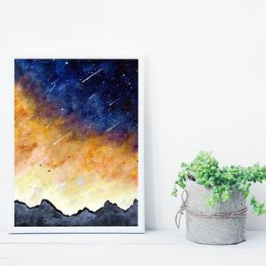 Nappal is csillagok az égen, saját tervezésű festmény - Eredeti festmény, Otthon & lakás, Képzőművészet, Festmény, Akril, Festészet, Saját elképzelés szerint festettem meg a képet. A csillagos égbolt mindig megihlet. \nSzeretem amikor..., Meska