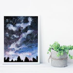 Fenyves a csillagok alatt, saját tervezésű festmény - Eredeti festmény, Otthon & lakás, Képzőművészet, Festmény, Akril, Festészet, Saját elképzelés szerint festettem meg a képet. A csillagos égbolt mindig megihlet. \nSűrű erdők fele..., Meska