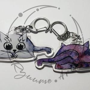Plexi. Imádni való kismacska mintás KULCSTARTÓ és táskadísz, egyedi minta alapján - Akril kulcstartó, Otthon & lakás, Képzőművészet, Festmény, Táska, Divat & Szépség, Kulcstartó, táskadísz, Akril, Festészet, Fotó, grafika, rajz, illusztráció, Egyedi elképzelés szerint terveztem a mintát akrilkulcstartóra. \nCuki macskát rajzoltam szemből, nag..., Meska