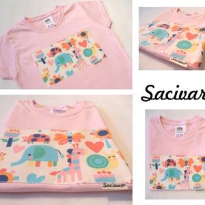 Rózsaszín alapon vidám mintás 5-6 éves (116cm) kislány póló, Póló, Babaruha & Gyerekruha, Ruha & Divat, Varrás, Mindenmás, A textil rátétet úgy készítem, hogy a mintát teljes terjedelmében felvasalom a pólóra egy kétoldalú ..., Meska