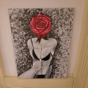 Rózsa, Művészet, Festmény, Akril, Festészet, 40x50 cm akril festmény feszített vásznon, Elérhetetlen szerelmet jelképezi, Meska