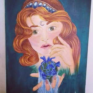 Földanya, Művészet, Festmény, Akril, Festészet, 30x40 cm méretű akril festmény feszített vásznon., Meska
