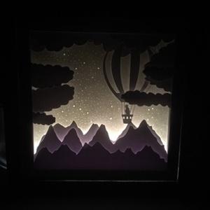 Hőlégballon Shadowbox, Hangszer & Hangszertok, Művészet, Papírművészet, Fotó, grafika, rajz, illusztráció, Ez a varázslatos kép elkalauzol Téged az álmok szigetére.\nHa egyedi ajándékot szeretnél, ne törd tov..., Meska