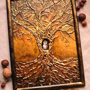 Bagoly az aranyfában, Művészet, Festmény, Festmény vegyes technika, Festészet, Metál jellegű képi világban lévő bagoly keresi gazdáját. Falra akasztható arany, bronz színvilágű ta..., Meska