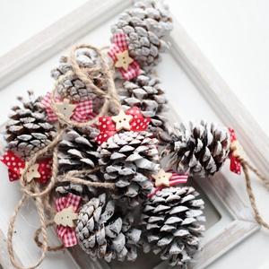 Karácsonyi toboz díszek, Otthon & Lakás, Karácsony & Mikulás, Karácsonyfadísz, Mindenmás, 9db toboz dísz , Meska