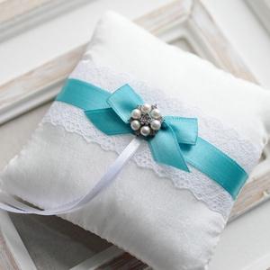 Gyűrűpárna, Gyűrűtartó & Gyűrűpárna, Kiegészítők, Esküvő, Mindenmás, Varrás, 12x12 cm-es gyűrűtartó párna, fehér., Meska