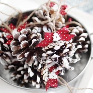 Karácsonyi toboz díszek , Otthon & Lakás, Karácsony & Mikulás, Karácsonyfadísz, Mindenmás, 9db toboz dísz , Meska