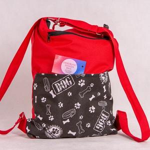 Piros kutyás cordura hátizsák, Táska & Tok, Hátizsák, Hátizsák, 2in1  - Hátizsák és Válltáska egyben!  A strapaíró anyagok kedvelőinek, itt a Cordura táskánk!  Mi i..., Meska