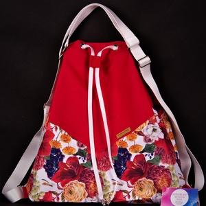 """Variálható Design Táska, Piros virágos """"shopper bag"""", Táska & Tok, Variálható táska, A hátizsákjaink kényelmét ötvöztük a tornazsákok egyszerűségével ennél a modellnél. Az anyaghasznála..., Meska"""