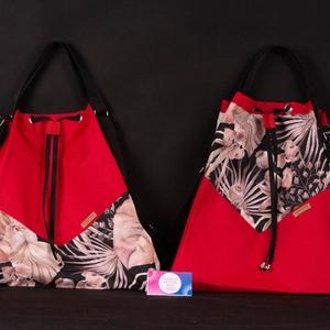 """Variálható Design Táska, Mákvirág """"shopper bag"""", Táska & Tok, Variálható táska, A hátizsákjaink kényelmét ötvöztük a tornazsákok egyszerűségével ennél a modellnél. Az anyaghasznála..., Meska"""