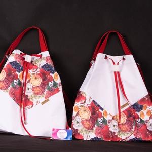 """Variálható Design Táska, fehér virágos """"shopper bag"""", Táska & Tok, Variálható táska, A hátizsákjaink kényelmét ötvöztük a tornazsákok egyszerűségével ennél a modellnél. Az anyaghasznála..., Meska"""