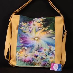 2 az 1ben XXL virág sokaság ökobőr táska, Táska & Tok, Variálható táska, Varrás, Meska
