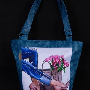 Elegáns ökobőr kék shopper bag, Táska & Tok, Variálható táska, Varrás, Meska