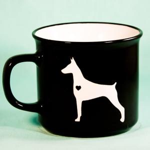 Egyedi Dobermann kutyás kutyás bögre, Otthon & lakás, Konyhafelszerelés, Bögre, csésze, Kutyások figyelem!  Ezt a bögrét a Sandblast Design kutyája Ali a dobermann ihlette. Alkotás közben ..., Meska