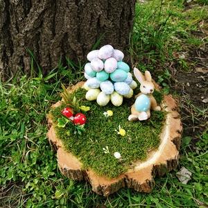 húsvéti asztaldísz, Otthon & Lakás, Dekoráció, Asztaldísz, Mindenmás, Nyuszis húsvéti asztaldísz fa alapon., Meska