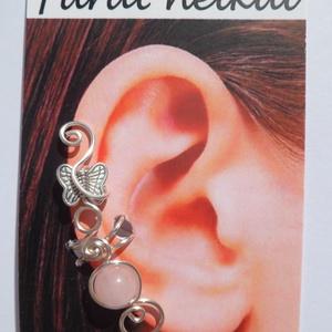 Pillangós rózsakvarc fülgyűrű  - Meska.hu