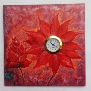Órás virág kép, Otthon & lakás, Dekoráció, Kép, Képzőművészet, Festmény, Akril, Lakberendezés, Falióra, óra, Festészet, Famegmunkálás, Saját kézzel festett kis fali farost kép beépített, működő Quartz órával. \nAz órában szükség esetén ..., Meska